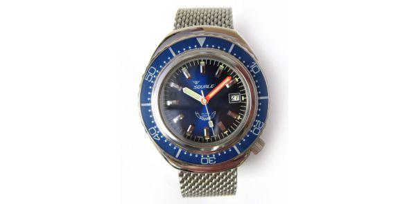 Squale 2002 Blue 1000 Metre Professional Divers Watch - Mesh Bracelet - SQL 03