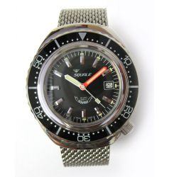 Squale Squale 2002 Black 1000 Metre Professional Divers Watch - Mesh Bracelet SQL 01