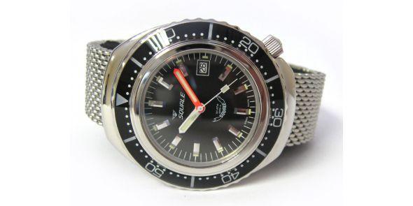 Squale 2002 Black 1000 Metre Professional Divers Watch - Mesh Bracelet - SQL 01