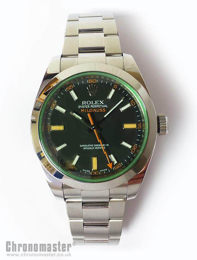 Rolex milgauss anniversary green glass watch rol 616 chronomaster uk for Rolex milgauss