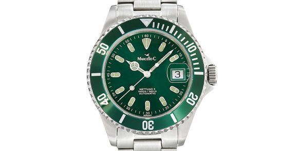 Marcello C Nettuno Divers Wristwatch Green Dial and Bezel - MAT 13