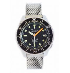Squale 1521 Steel 500 Metre Professional Divers Watch Black Dial on Mesh Bracelet SQL 19