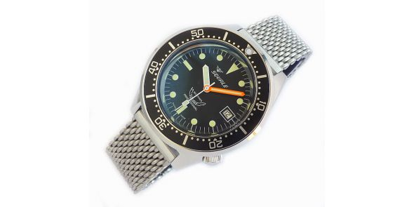 Squale 1521 Steel 500 Metre Professional Divers Watch Black Dial on Mesh Bracelet - SQL 19