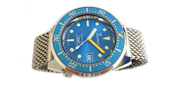 Squale 1521 Steel 500 Metre Professional Divers Watch Blue Dial on Mesh Bracelet - SQL 16