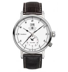 Zeppelin Nordstern Dual Time White Dial 7540-1