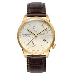 Zeppelin Flatline Automatic Power Reserve Cream Dial Gold Plate 7368-5