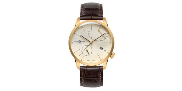 Zeppelin Flatline Automatic Power Reserve Cream Dial Gold Plate - 7368-5