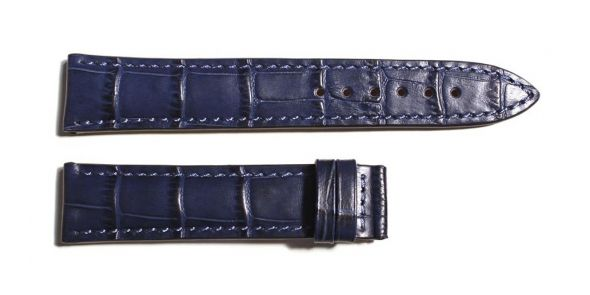 Leather strap blue croco grain size L - 211-0791