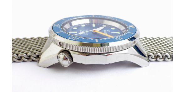 Squale 1521 - Blue Dial - Polished Steel on Mesh Bracelet - NWW 1481