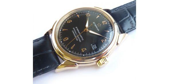 Eterna 1948 Certified Chronometer Black Dial 18k Rose Gold - NWW 1615