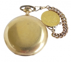 Full Hunter 18k Pocketwatch With 10 Dollar Gold Coin